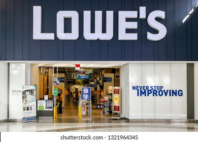 Toronto, Canada - October 33, 2018: Lowe's store has been closed in Centerpoint mall, Toronto, Canada.  Lowe's Companies, Inc. is an American retail company specializing in home improvement.