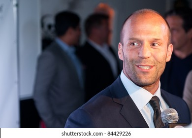 "TORONTO, CANADA – SEPT 10:  Jason Statham is interviewed at the ""Killer Elite"" reception after the movie premiere at the Toronto International Film Festival September 10, 2011 Toronto, Ontario."