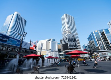 TORONTO, CANADA - September 01, 2016: Yonge Dundas Square in Toronto. The Yonge-Dundas intersection is one of the busiest in Canada.