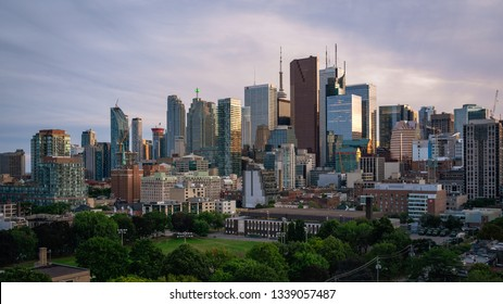 TORONTO, CANADA - SEPTEMBER 01, 2017:  Panorama of the entire Downtown Toronto skyline at sunset