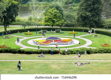 TORONTO, CANADA - SEPTEMBER 04, 2017: View of the beautiful Maple leaf garden at High Park, Toronto, Canada