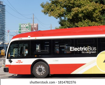 Toronto Canada, September 11, 2020; A Toronto Transit Commission TTC Proterra electric bus moving nto an intersection