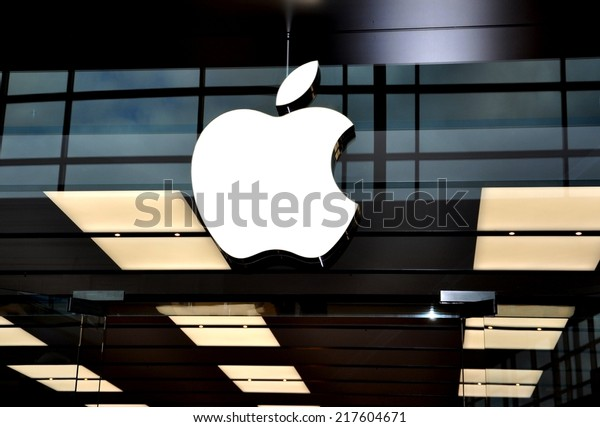 Toronto, Canada - September 13, 2014: A sign of an Apple company in front of their Toronto store.