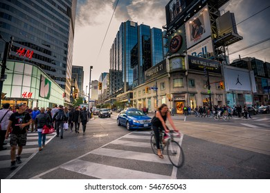 TORONTO, CANADA - September 16, 2016: Yonge Dundas Square in Toronto. The Yonge-Dundas intersection is one of the busiest in Canada.