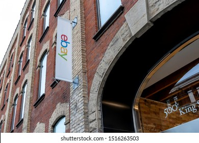 Toronto, Canada - September 25, 2019: eBay sign at eBay Canada office in downtown Toronto. eBay Inc. is a multinational e-commerce corporation.