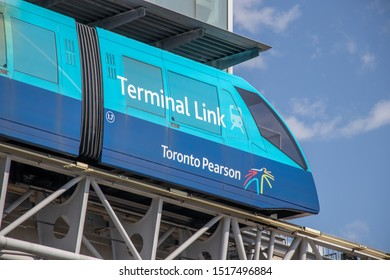 TORONTO, CANADA - September 26, 2019: Terminal Link tram pulling into station at Terminal 3, Toronto Pearson Intl. Airport.
