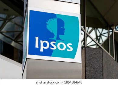Toronto, Canada - September 29, 2020: Ipsos logo is seen outside of their office building in Toronto, Canada. Ipsos Group S.A. is a multinational market research with headquarters in Paris.