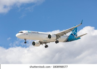 Toronto Canada, September 4, 2020; Air Transat Airbus A 321 jet airliner approaching Pearson Airport YYZ runway 5 for landing