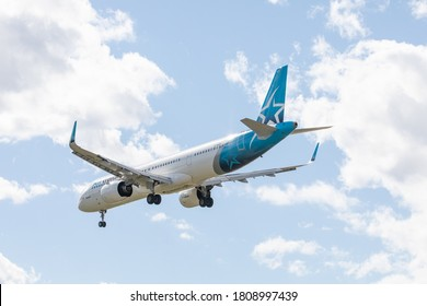 Toronto Canada, September 4, 2020; view from the rear of Quebec based Air Transat Airbus A 321 jet airliner approaching Pearson Airport YYZ about to touch down on runway 5 for landing