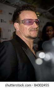 "TORONTO, CANADA - SEPTEMBER 8, 2011: U2 lead singer, Bono, arrives at the gala screening of the documentary ""From The Sky Down"" at the opening of the 2011 Toronto International Film Festival on Sept. 8, 2011."
