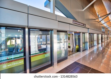 Toronto, Canada-April 20, 2018: Up Express train shuttle connecting Toronto Pearson airport terminals and the city downtown