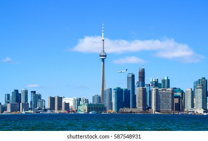 Toronto, Canada-April 22, 2014: Downtown Toronto skyline on a sunny day