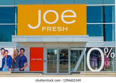 Toronto, Canada-April 27, 2019: Joe Fresh store entrance. Joe Fresh is a fashion brand and retail chain know for selling high quality clothing shoes and purses.