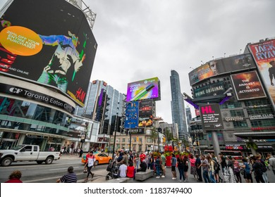 TORONTO, CANADA-AUGUST 30TH, 2018; Yonge–Dundas Square, or Dundas Square, is a public square at the southeast corner of the intersection of Yonge Street and Dundas Street East in Downtown Toronto.