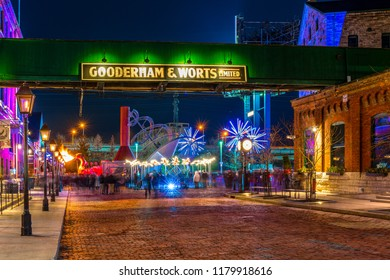 Toronto, Canada-December 20, 2017: Traditional lights festival, also known as Light Fest, in the historic distillery district which is a heritage site in the city. The festival is a tourist attraction