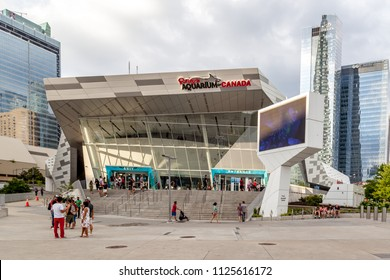 Toronto, Canada-July 02, 2018:  People visit Ripley's aquarium, a public aquarium in Toronto, Ontario, Canada.