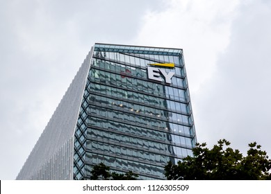 Toronto, Canada-July 02, 2018:  Sign and logo of EY on EY Tower in downtown Toronto. Ernst & Young is a multinational accounting firms headquartered in London, England.