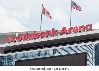Toronto, Canada-July 02, 2018: Sign of Scotiabank Arena. The Scotiabank Arena, former Air Canada Centre renamed on July 1, 2018, is a multi-purpose indoor sporting arena in Toronto.