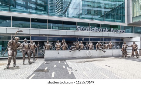Toronto, Canada-July 02, 2018: The statues on Legends Row outside Scotiabank Arena (formerly named Air Canada Centre) in Toronto (total 14 statues after October, 2017).