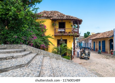 Toronto, Canada-July 7, 2018: The House of the Conspirators (yellow) The Cuban Steps lead the sight toward the historic building. Both places are tourist attraction in the colonial town.