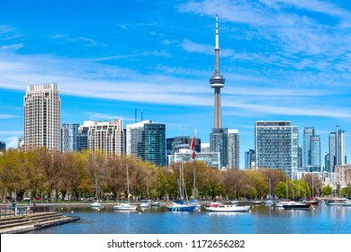 Toronto, Canada-June 12,2018: The skyline of the capital city of the province of Ontario is one of the most photographed places in Canada. It is a famous place and major tourist attraction.