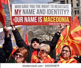 "TORONTO, CANADA-MARCH 18, 2018: Macedonian Community Rally ""Our Name is Macedonia"" in front of the Queen's Park protesting against changing constitutional name of the country"
