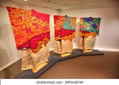 TORONTO, CANADA-MAY 10, 2018: Artistry in silk exhibition, the kimono of Itchiku Kubota
