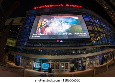 Toronto, Canada-September 6, 2018: Wide angle view of the Scotiabank Arena facade. The famous place is the home for the Maple Leaf hockey team and the Toronto Raptors basketball team.