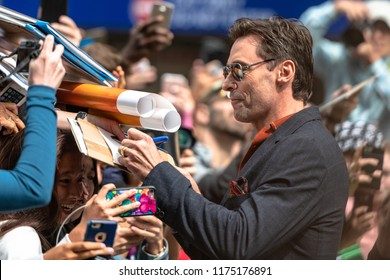 Toronto, Canada-September 8, 2018: Hugh Jackman. Celebrities attending this year TIFF. The Film Festival is one of the largest publicly attended film festivals in the world