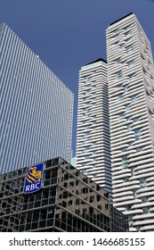 TORONTO, CANANDA - JULY 23, 2019: Financial district office buildings in Toronto.