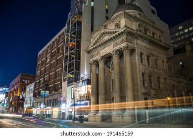 TORONTO - CIRCA APR 2014: 205 Yonge Street, formerly a four-storey Bank of Toronto building built in 1905 in Toronto, Ontario, Canada. Shot at night in long exposure.