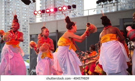 Toronto - circa mid-August, 2015 Harbourfront cultural festival in Toronto, Canada. Festival participants are performing at the WestJet stage.