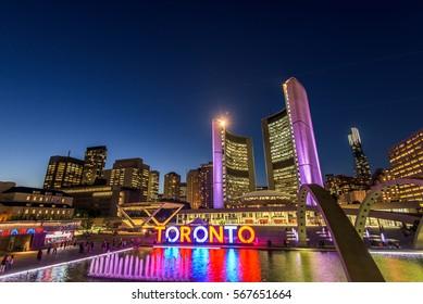 Toronto City Hall and Nathan Phillips Square at night