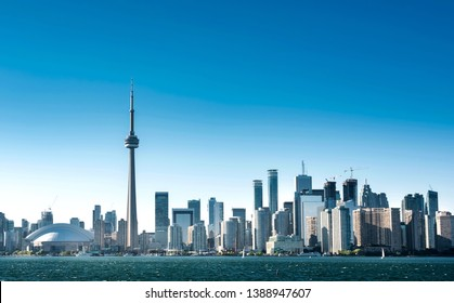 Toronto city skyline and blue sky on a clear day in Summer. Ontario, Canada