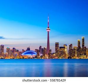 Toronto city skyline and buildings at Night, Ontario, Canada