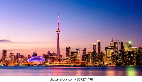 Toronto city skyline and buildings at Night, Ontario, Canada
