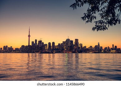 Toronto city skyline from center island, Ontario, Canada
