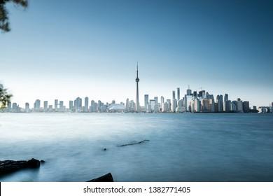 Toronto city skyline from centre Island with blue sky. Ontario, Canada