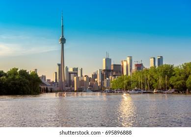 Toronto city skyline from centre island at sunset , Ontario, Canada