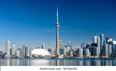 Toronto city skyline on clear sunny day, Ontario, Canada