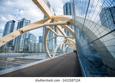 Toronto city skyline and Puente de Luz bridge.