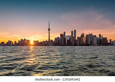 Toronto City skyline at sunset - Toronto, Ontario, Canada.