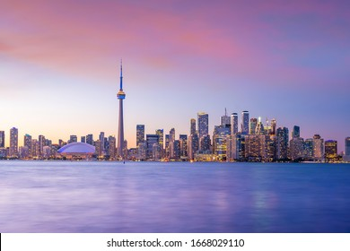 Toronto city Skyline at  sunset in Ontario, Canada