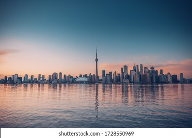 Toronto city skyline. The city view from Center Island in Ontario lake, Canada
