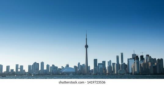 Toronto city skyscraper with clear blue sky. Ontario, Canada