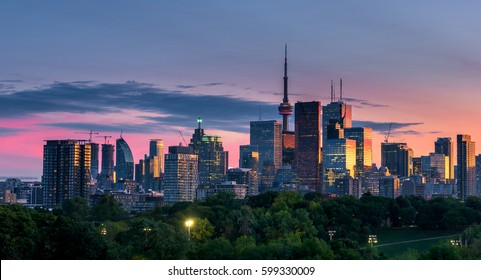 Toronto city at sunset, Ontario, Canada
