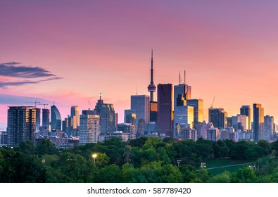 Toronto city view from Riverdale park at night, Ontario, Canada