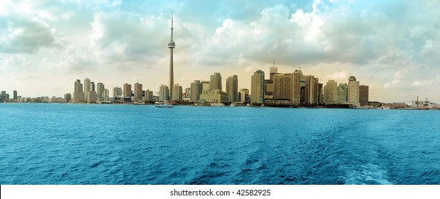 Toronto Cityscape colored panorama, Ontario Lake. Canada