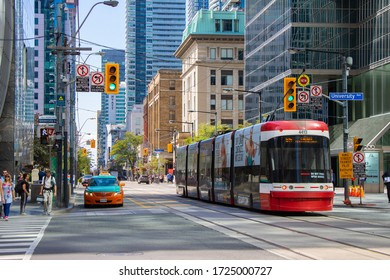 Toronto cityscape with a street car in Ontario, Canada in Sep 17, 2019