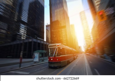 Toronto downtown streets on a sunset